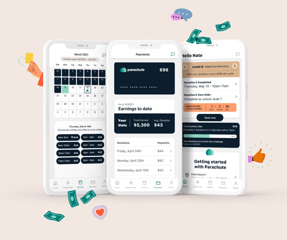 Image of three screenshots of Parachute app -calendar screen, payment screen, and Home Screen with floating dollar, thumbs up, and speech bubble icons.