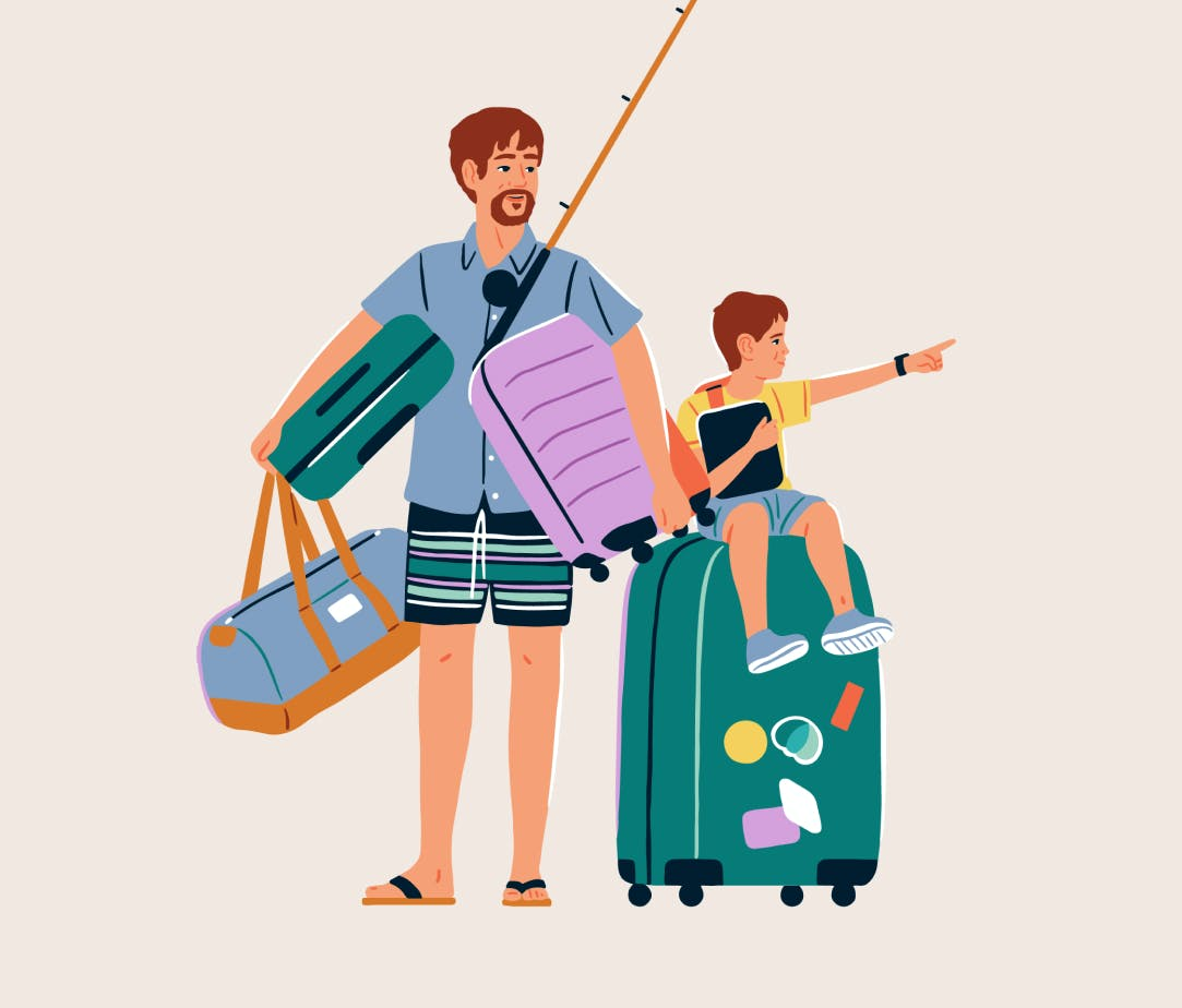 Illustration of father and son with luggage.