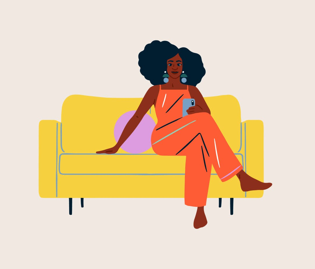 Illustration of woman sitting on couch with phone.