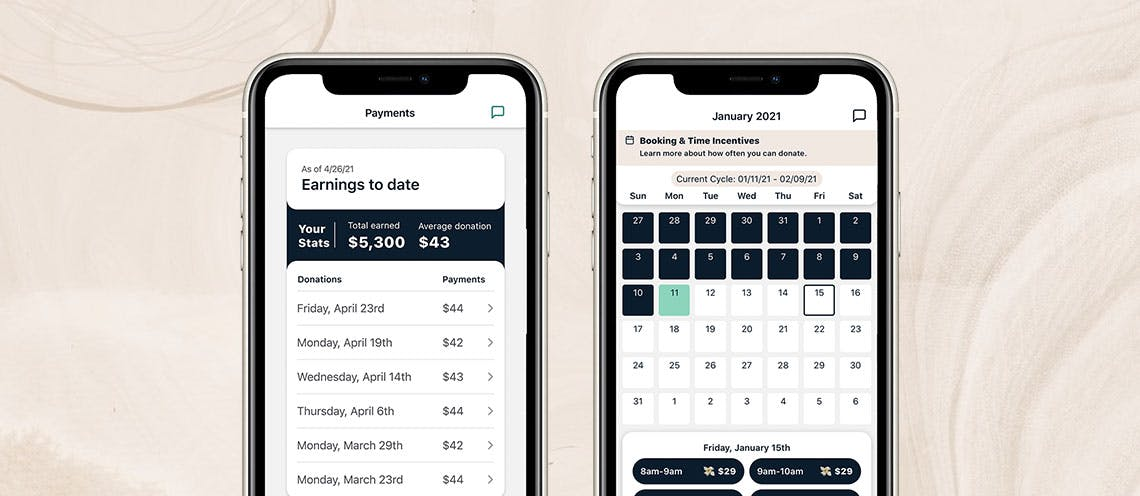 """Image of two iPhones side-by-side. One phone shows the Parachute app """"payments"""" screen and the other shows the """"calendar"""" screen."""