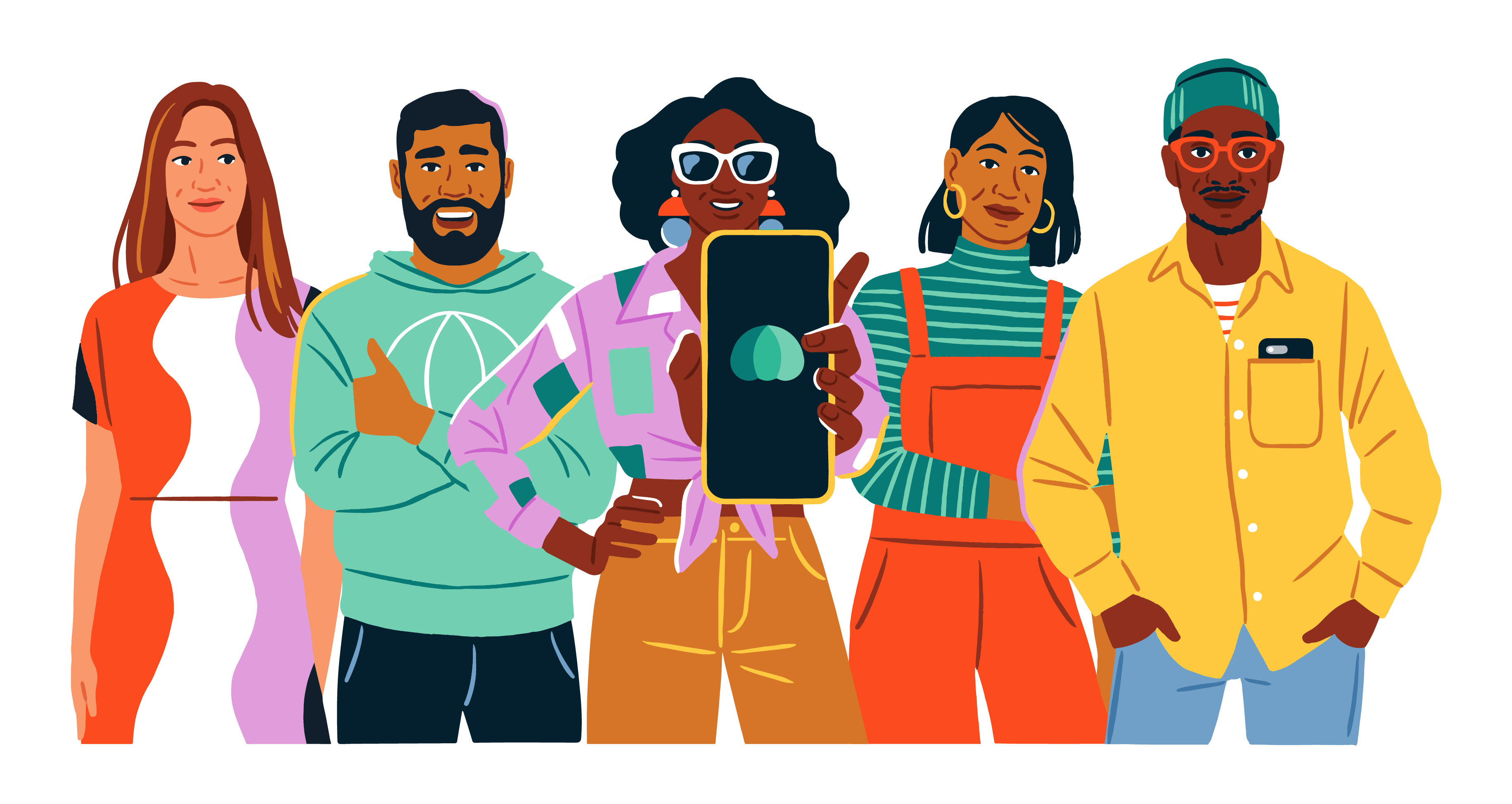 Illustration of a group of people, one holding a smartphone showing the Parachute logo