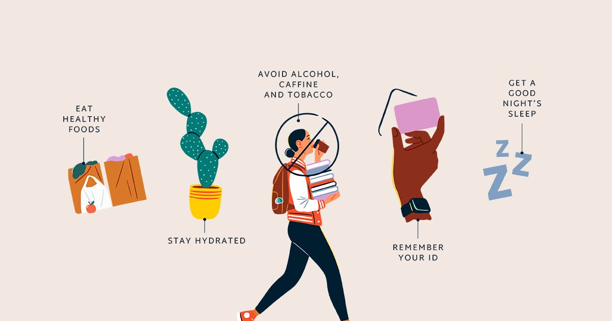 Illustration showing visual representations of things to remember before donating.
