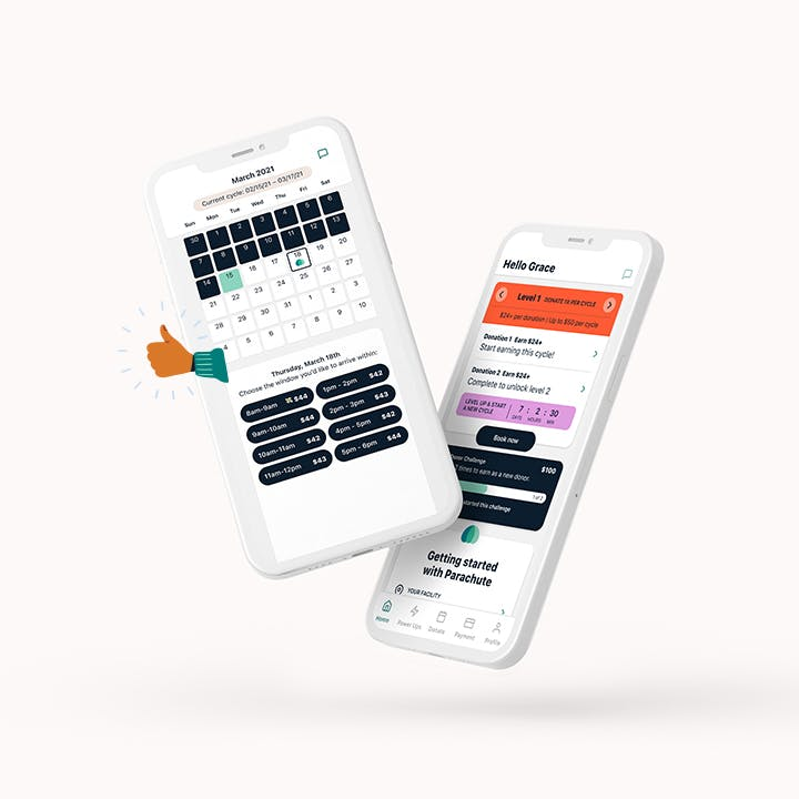 Screenshot of Parachute app calendar screen showing available appointments and a screenshot of Parachute app Home Screen.