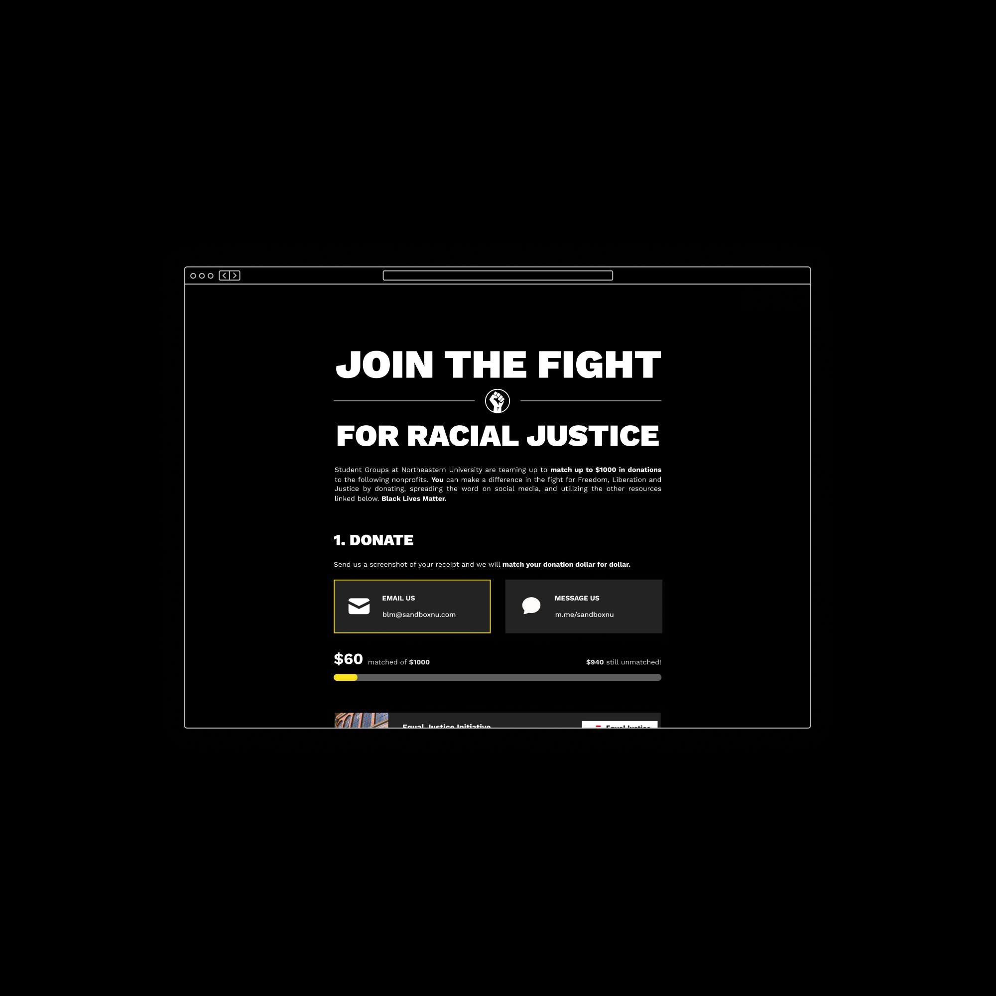 A thumbnail showing screens of the BLM donation site on a black background