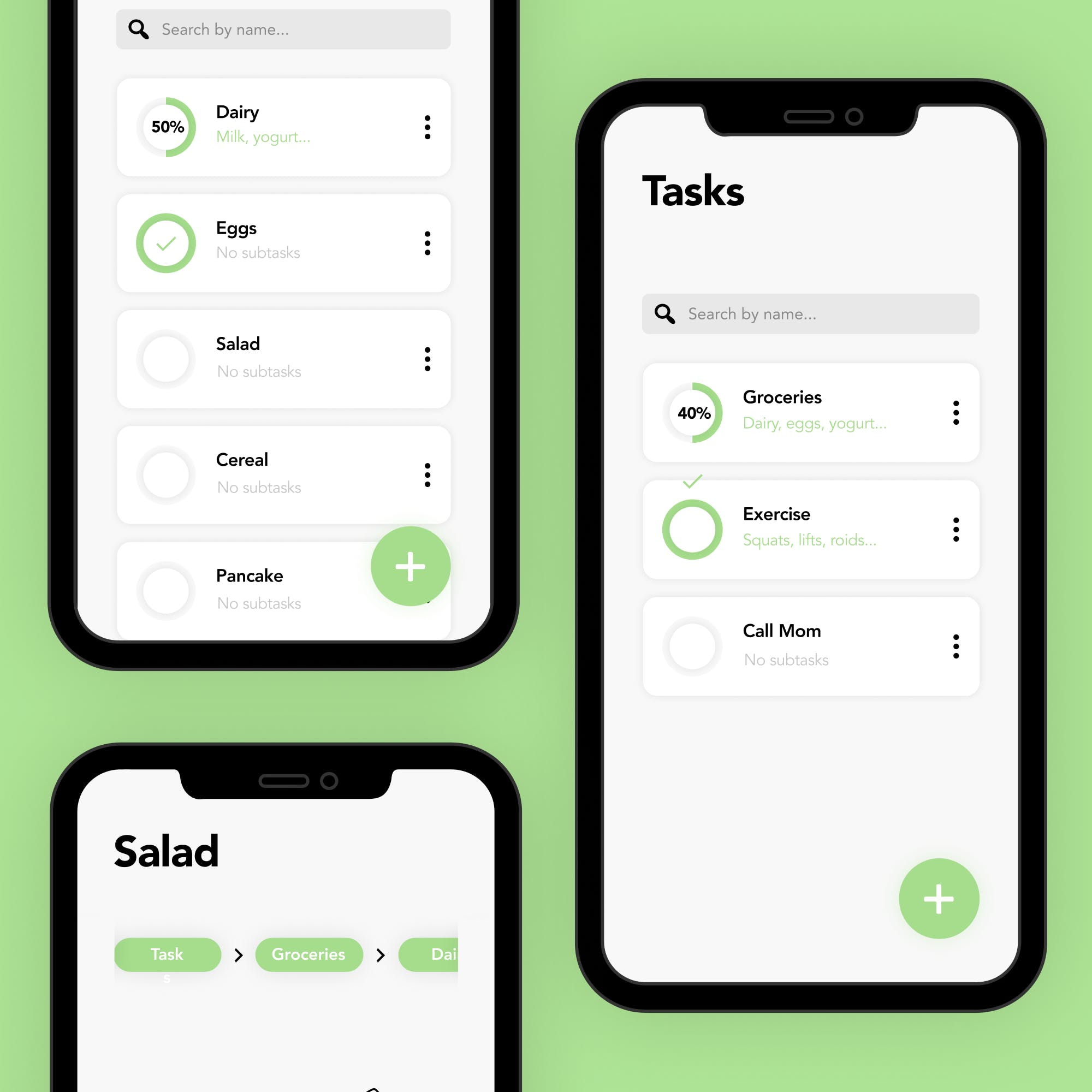 A thumbnail showing screens of subtask on a spearmint background