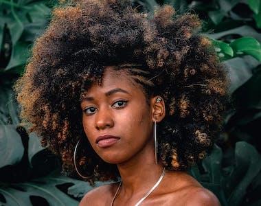 dark brown afro hair