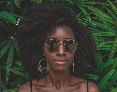 shoulder lenght afro hair