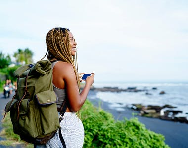 woman travelling Africa