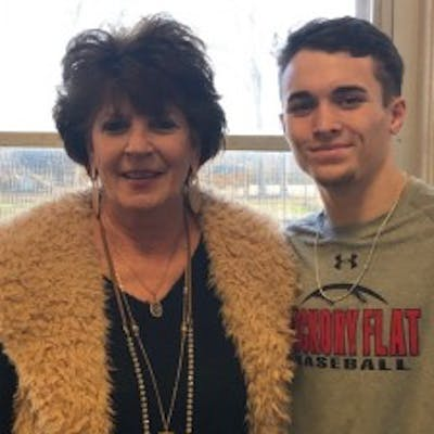 Principal Jane Hubbard of Hickory Flat Attendance Center and Lane Gorden