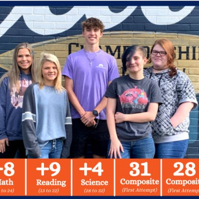 Several Bogue Chitto High School Juniors realized major ACT® improvements recently after preparing with Jumpstart Test Prep. (L to R): Ally Roberts, Katelyn Waldrop, Brandon Welch, Breanna Meche, and Ariana Young.