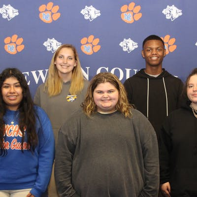 Several Newton County High School Juniors were recognized for their ACT results. Back row, L to R: Cameron Gressett, Krystyn Dykes, John Graham, and Jacob Duncan. Front row, L to R: Marilyn Marin-Martinez, Makenzie Sessions, and Paetyn Johnson.