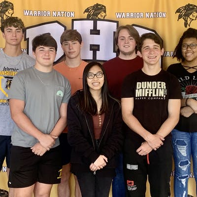 uniors at D'Iberville High School were recognized for significant ACT score improvements. Back row, from left: Tyler Gunter, Pierson Feeney, Michael Taylor, and Mikayla Snaer; front row, from left: Gavin Vassalli, Hannah Nguyen, and C.T. Frick.