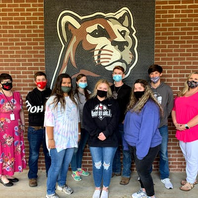 Back row, L to R: Principal Tawanna Thornton, Cody Grant, Makenzie Mealer, Jakob Hedgepeth, Dylan Bryan, and teacher Candace Sandifer. Front row, L to R: Ashlyn Howell, Savannah McCullough, and Anna Herring.