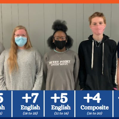 Multiple Houston High School juniors achieved notable ACT® improvements recently after preparing with Jumpstart Test Prep. Pictured L to R: Jackson Laster, Angel Renfroe, Tim'mara Lee, Gibson Cauler, and Jonathan Fowler.