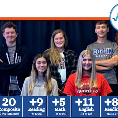 Multiple Loyd Star Attendance Center juniors realized major ACT® improvements after preparing with Jumpstart Test Prep. Back row, L to R: Hunter Williams, Haley McCullough and Riley Easterling. Front row, L to R: Wednesday Warren and Madison Falvey.