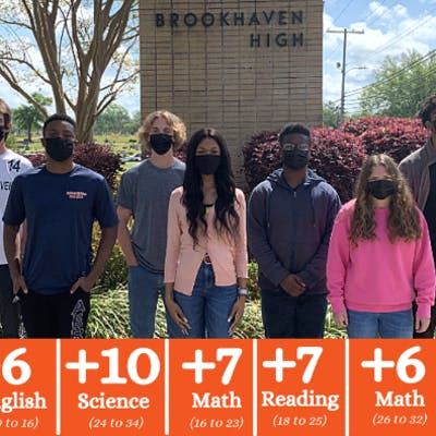 Brookhaven High School Juniors realized major ACT® improvements recently after preparing with Jumpstart Test Prep. Picture are L to R: Bryce Bradley, Gary Clark, Collin Kellum, Kaytlin Humphreys, Galen Clark, Leyton Roberson, and Ajani Thompson.
