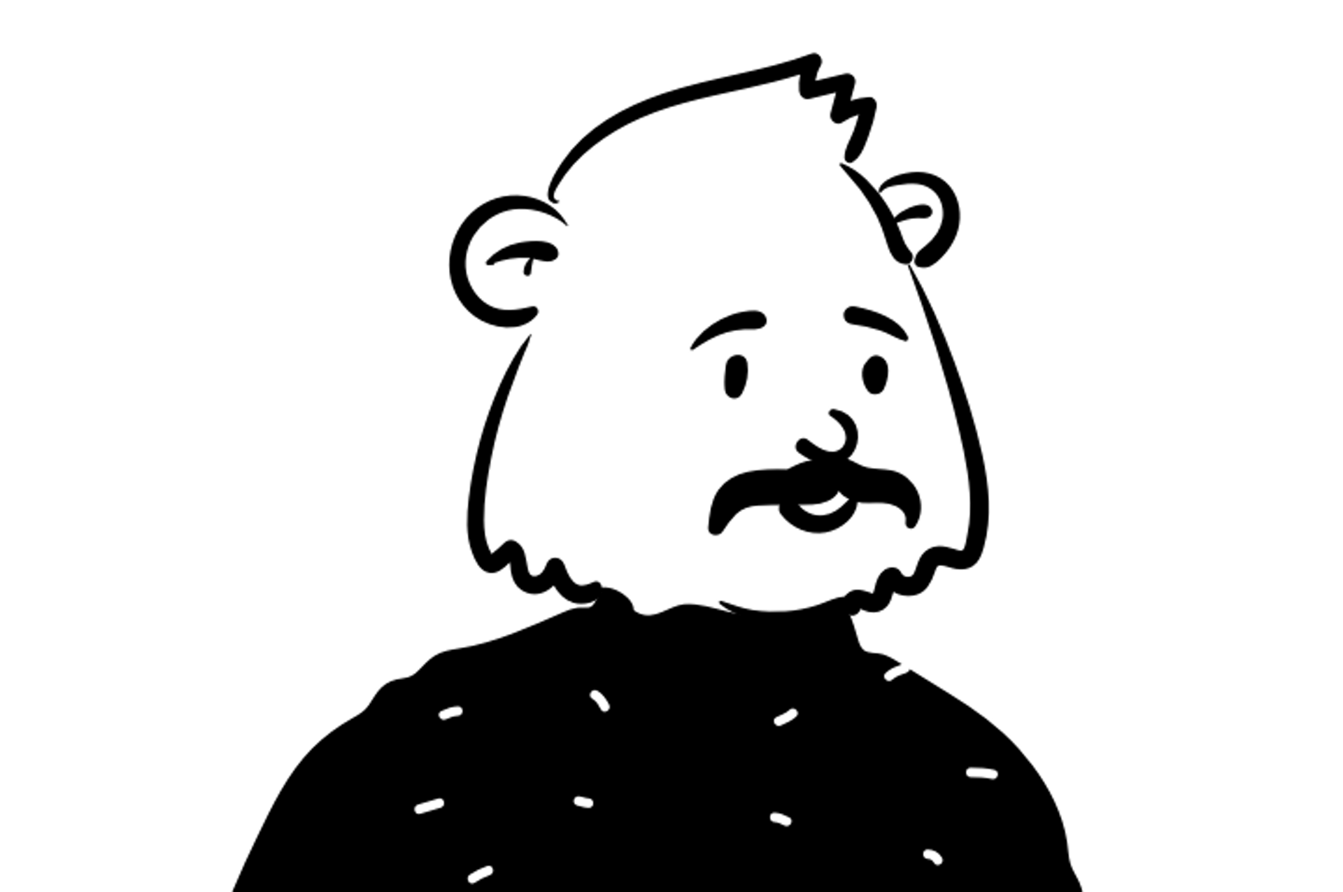 Peep illustration of man with bear head