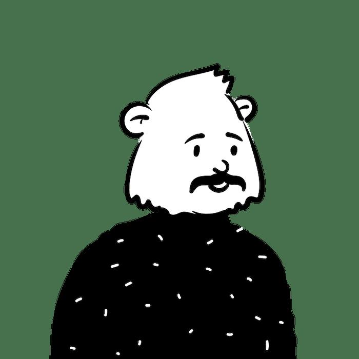 Peep illustration of man with bear head