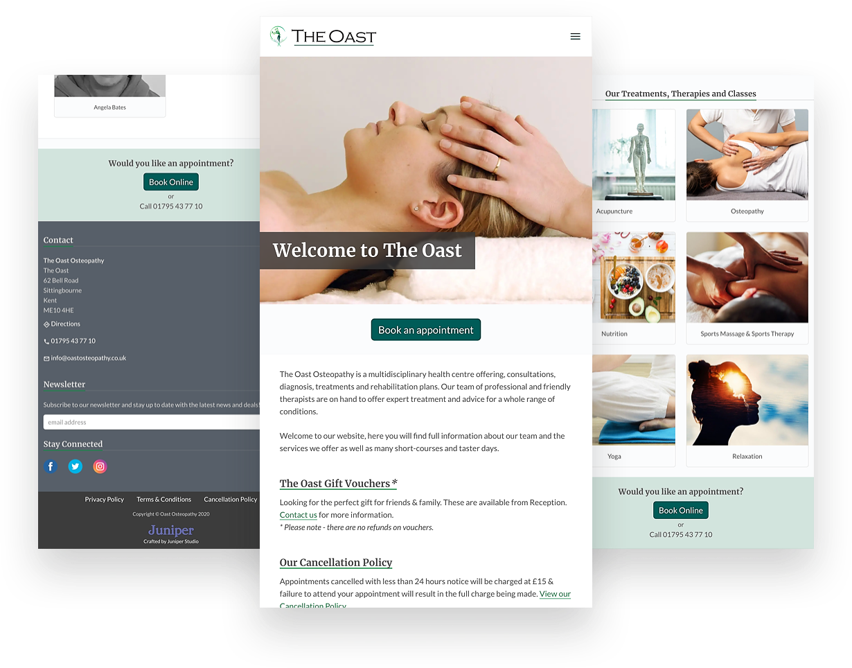 mobile sized screenshots of the Oast Osteopathy Website