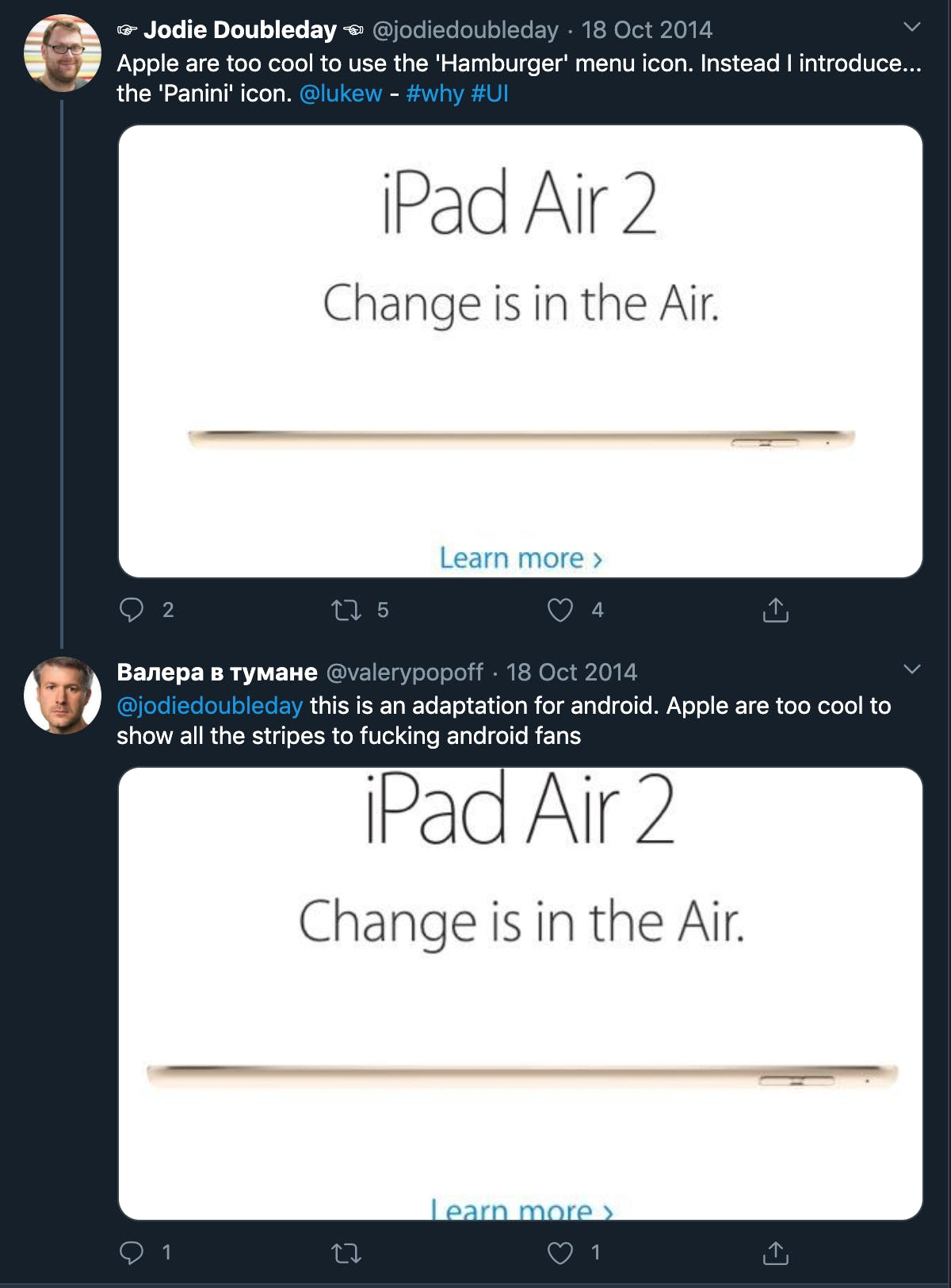 Screenshot of twitter feed showing Apple hamburger menu