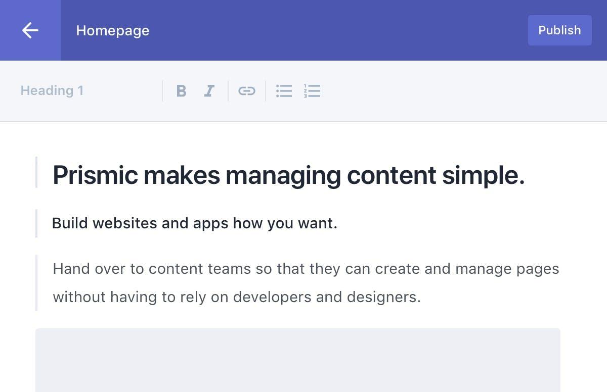 Makes managing content simple