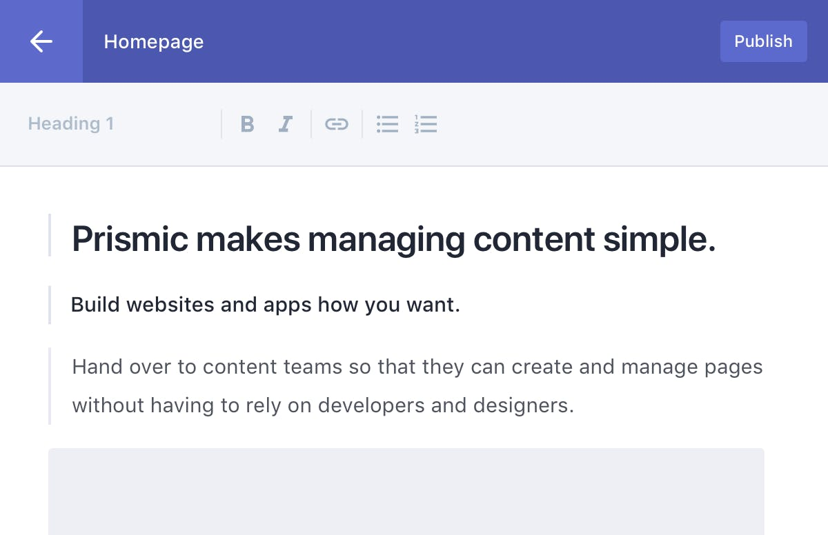 """The Prismic """"Writing Room"""" - the UI to create pages and posts"""