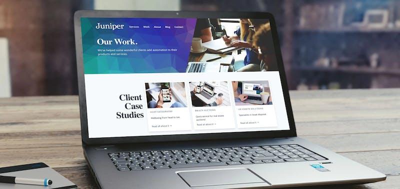 Juniper April 2020 rebrand on laptop