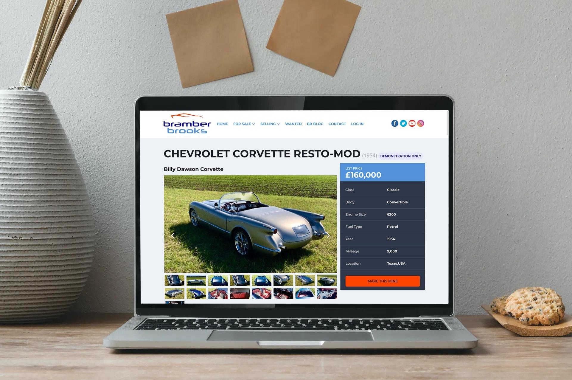 Car page on Bramber Brooks website displayed on laptop