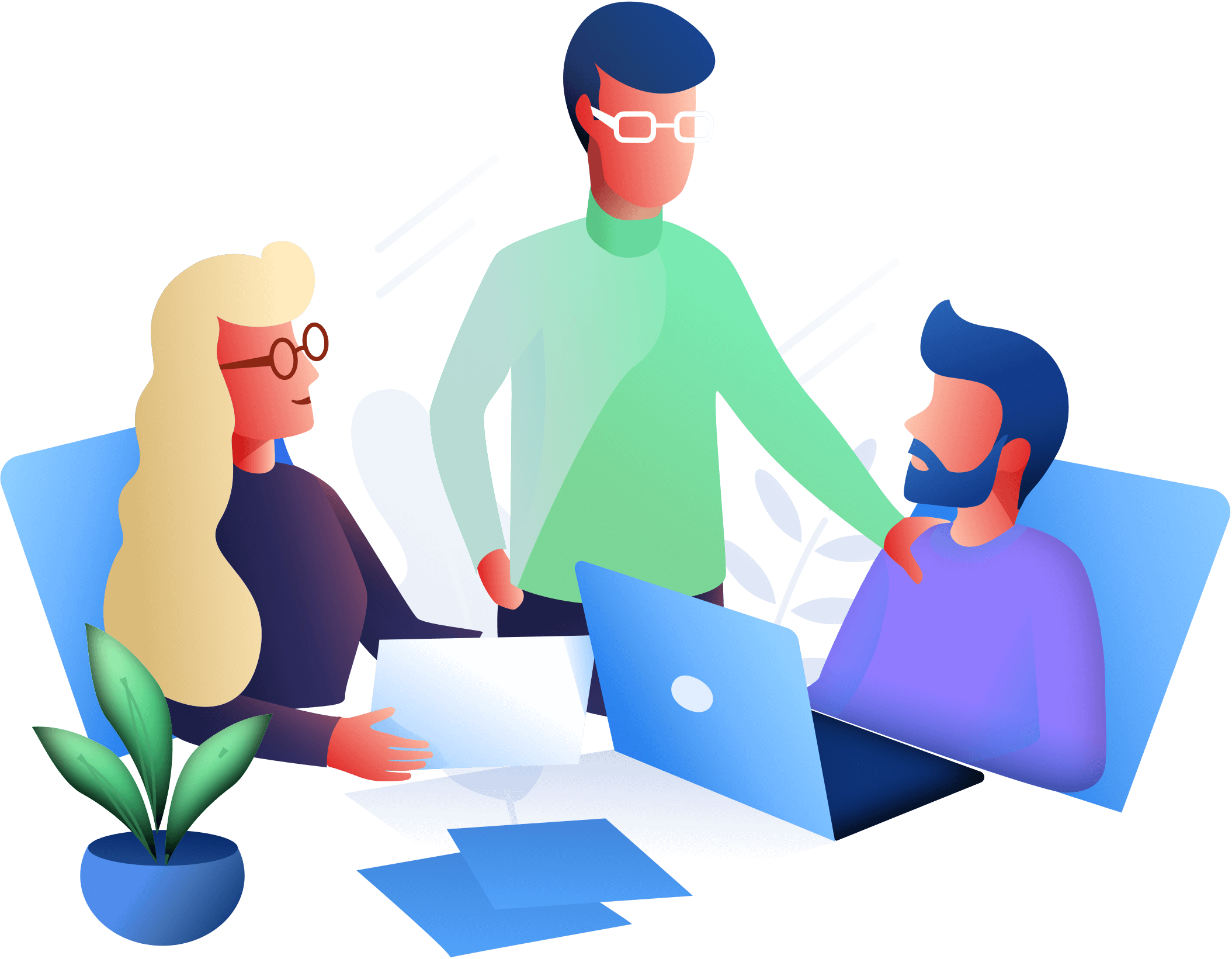 Illustration of 3 colleagues working on a project