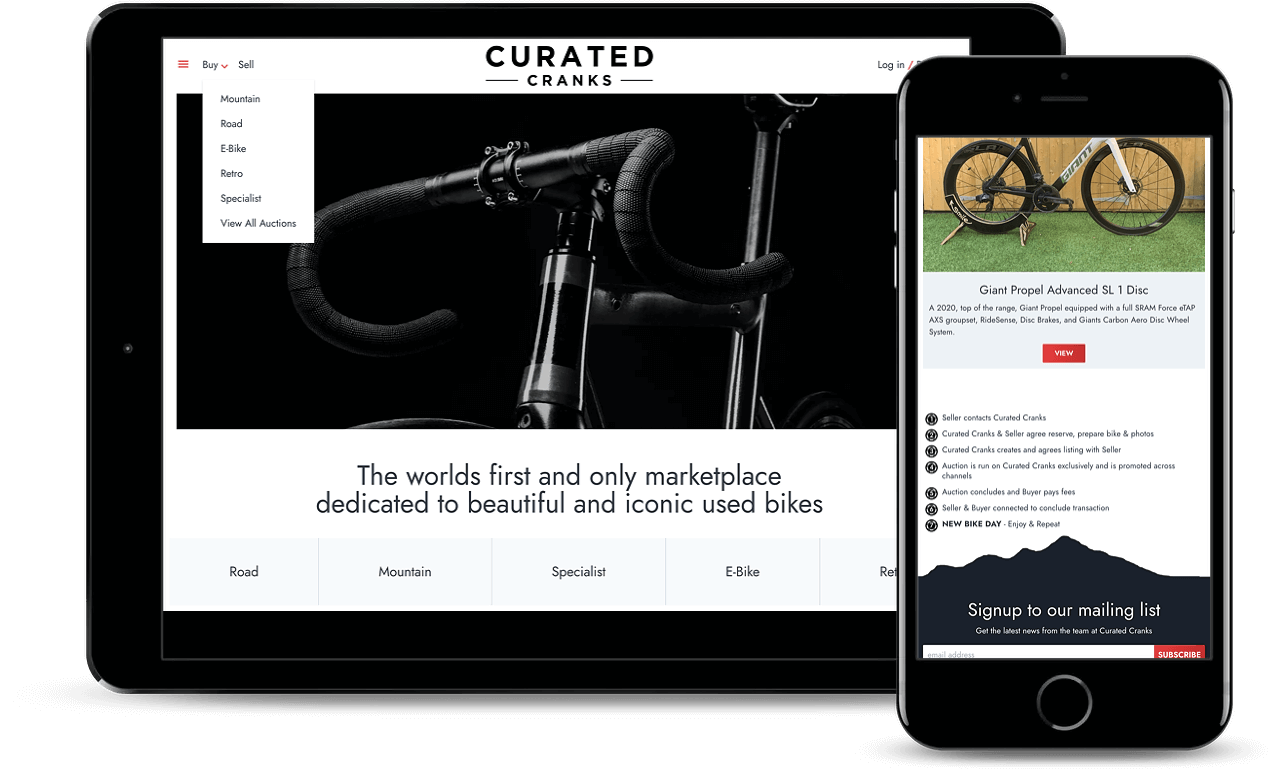 Curated Cranks web pages displayed on 2 different devices