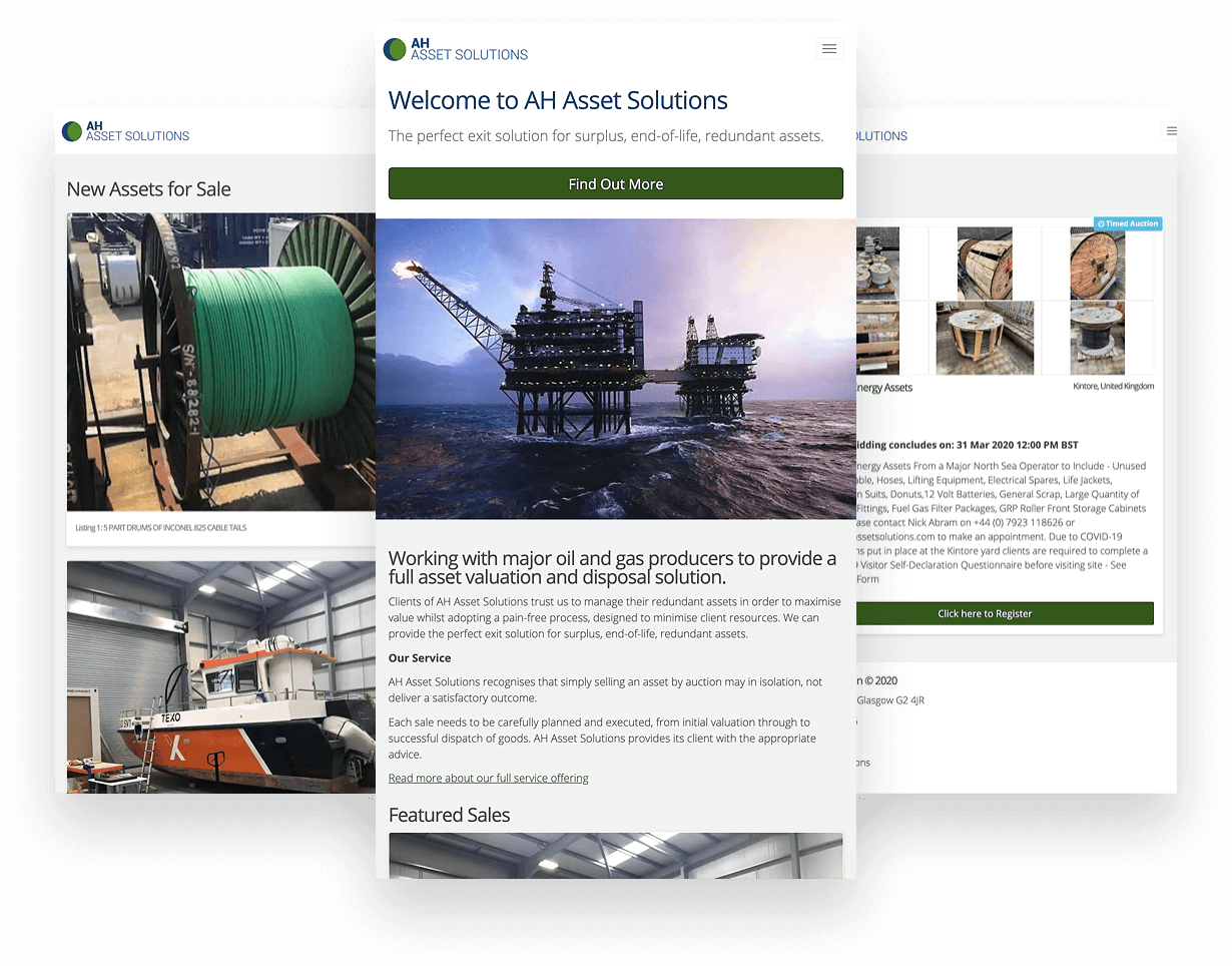 AH Assets Mobile screenshots of website