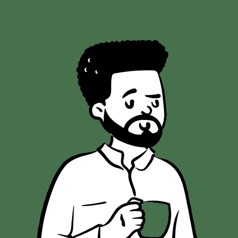 Peep illustration with beard and coffee