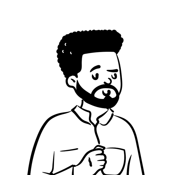 Peep illustration with beard and coffee