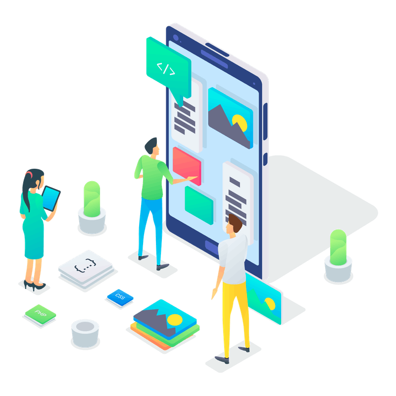 Illustration of team working on mobile phone