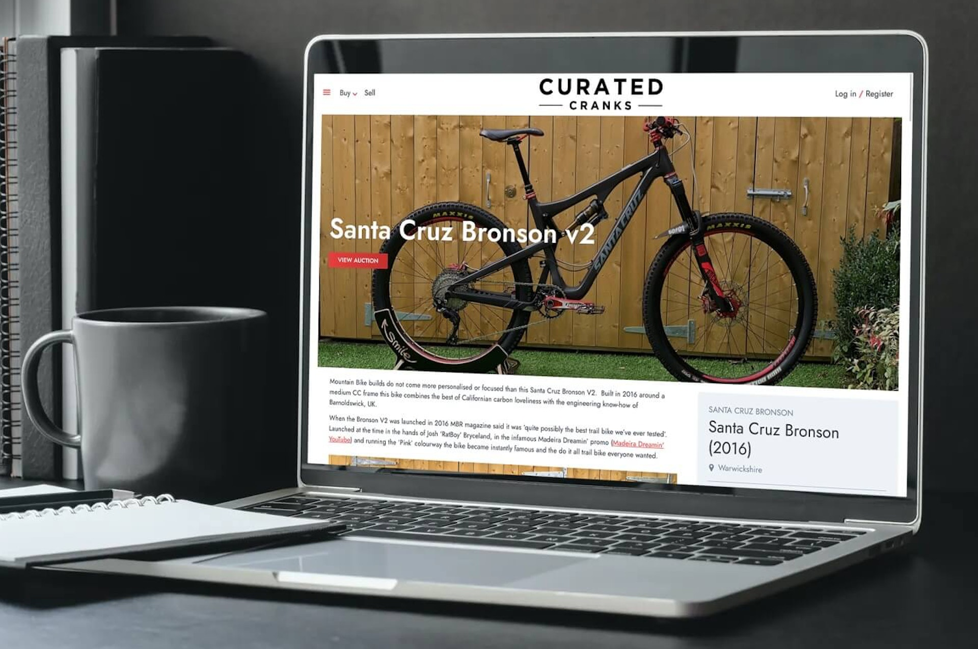Curated cranks website displayed on laptop