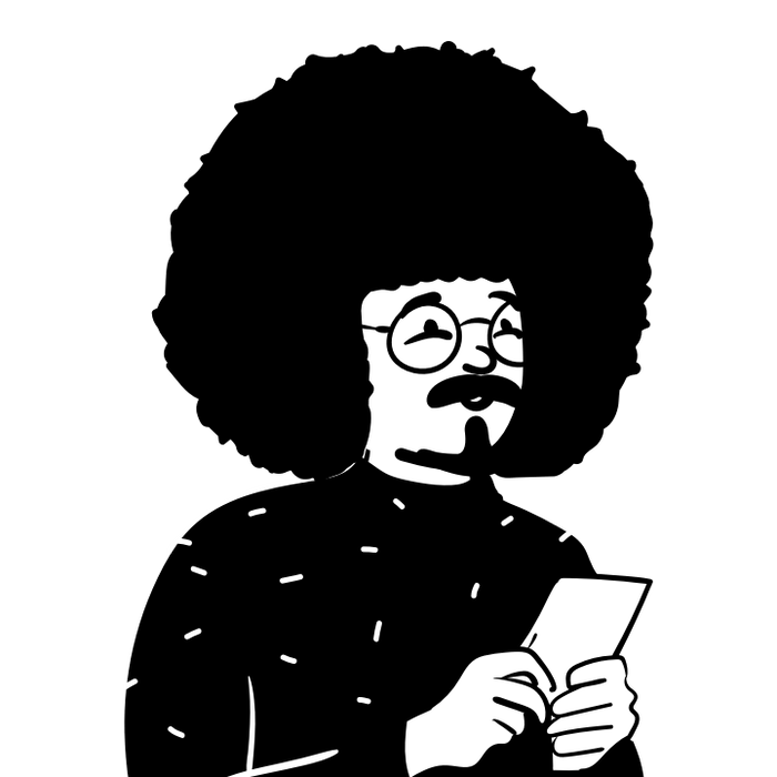 Peep illustration with big hair and notebook