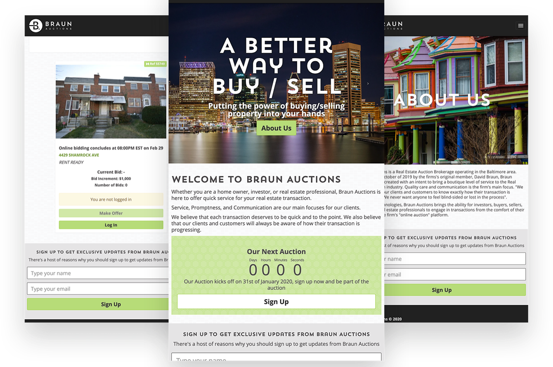 Mobile view of the Braun Auctions website