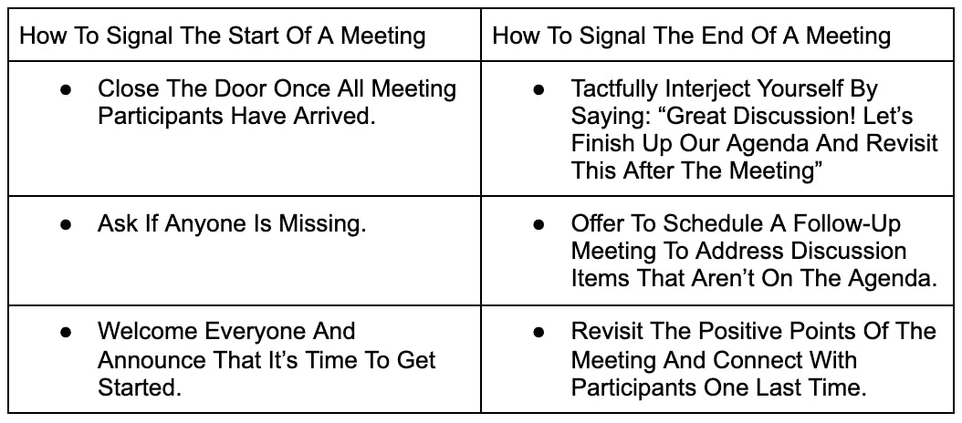 How to signal the beginning and end of a meeting