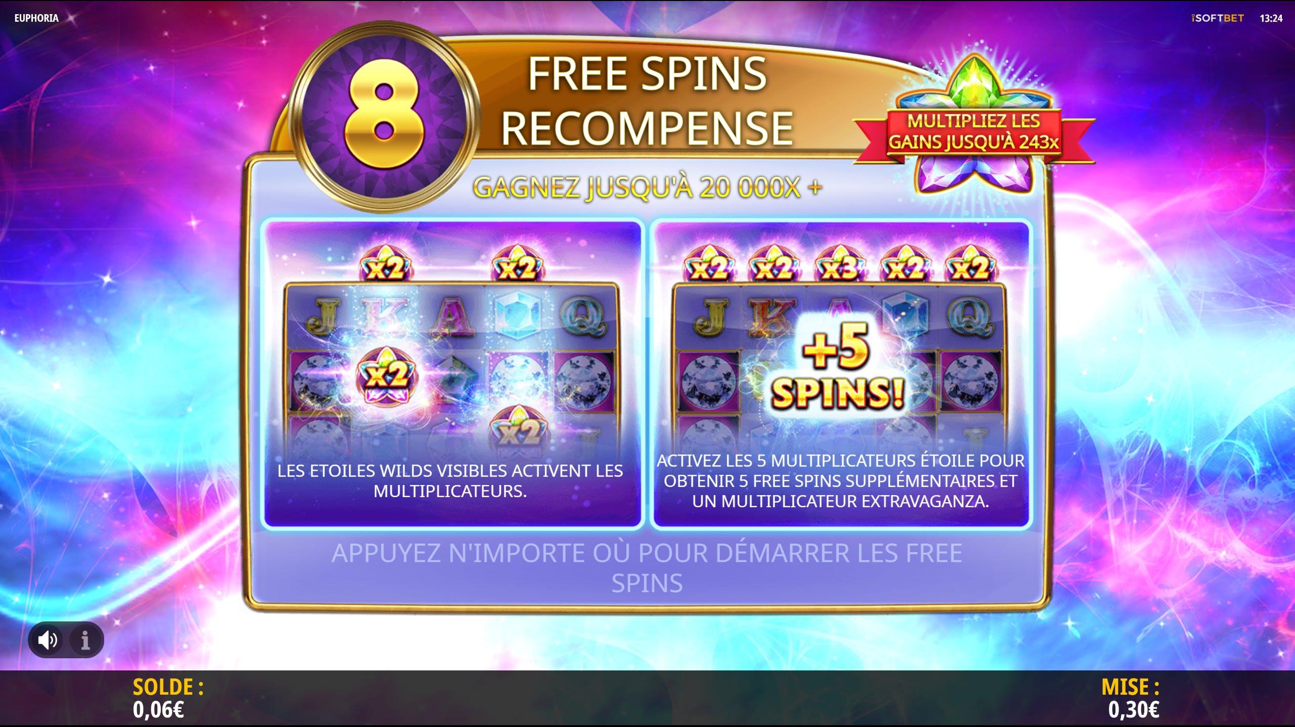 Euphoria Free Spins reward from ISoftBet provider