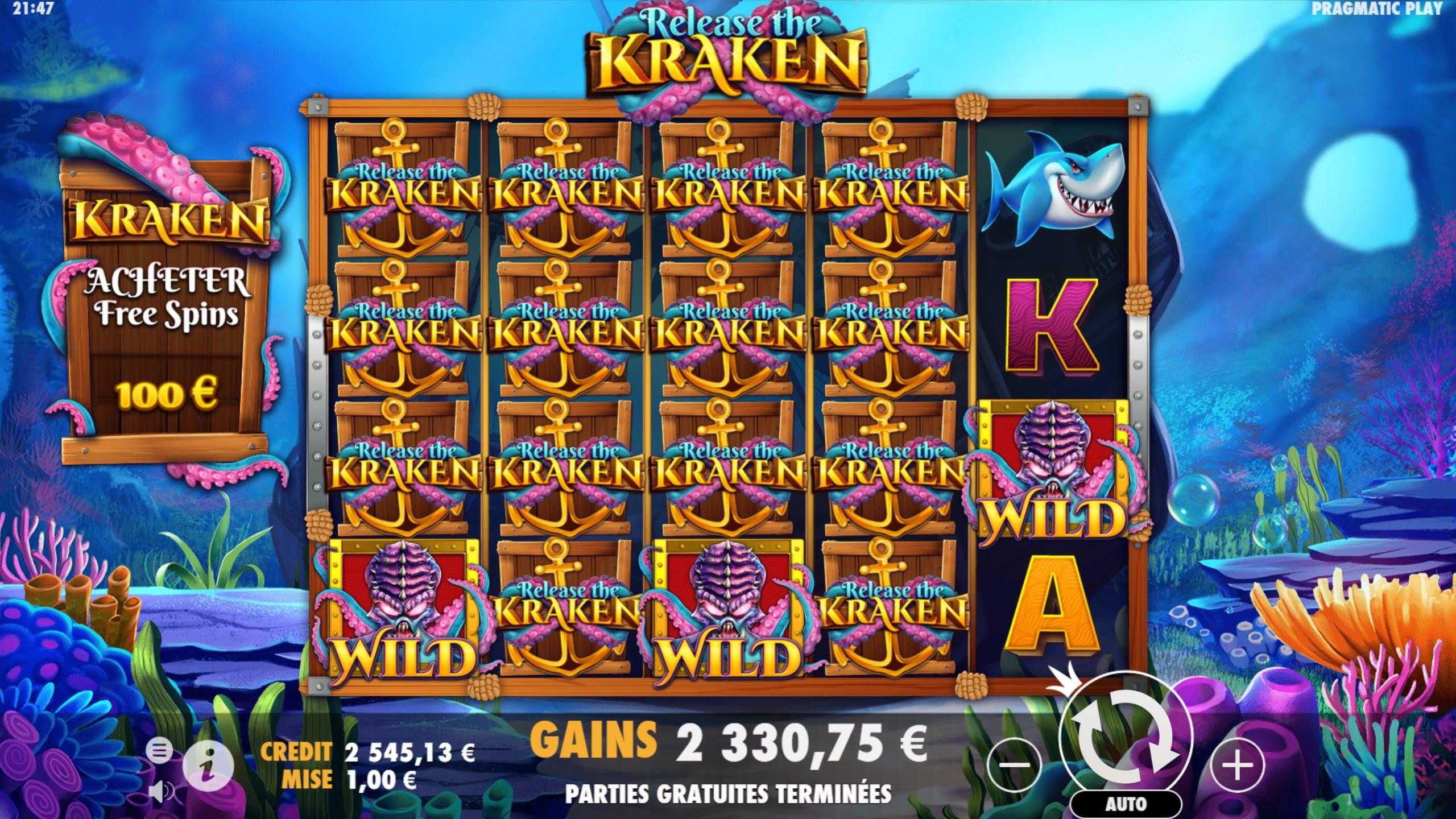 Kraken Mega Big Win Full screen of Release the Kraken Symbols on Release the Kraken slot by Pragmatic Play