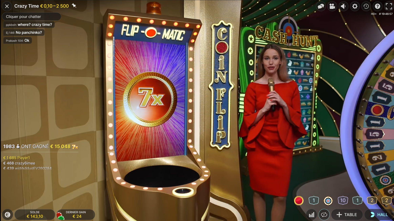 crazy time coin flip red x7 evolution gaming sur cresus