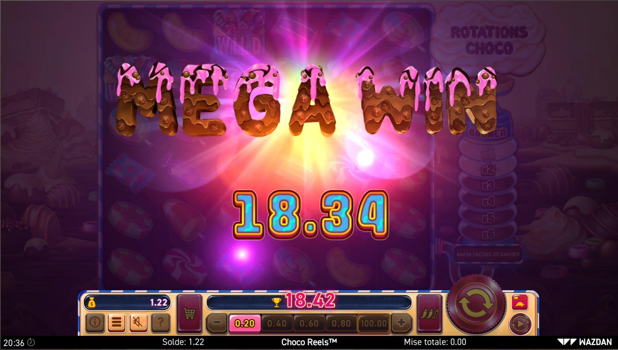 Mega Win on choco reels from Wazdan