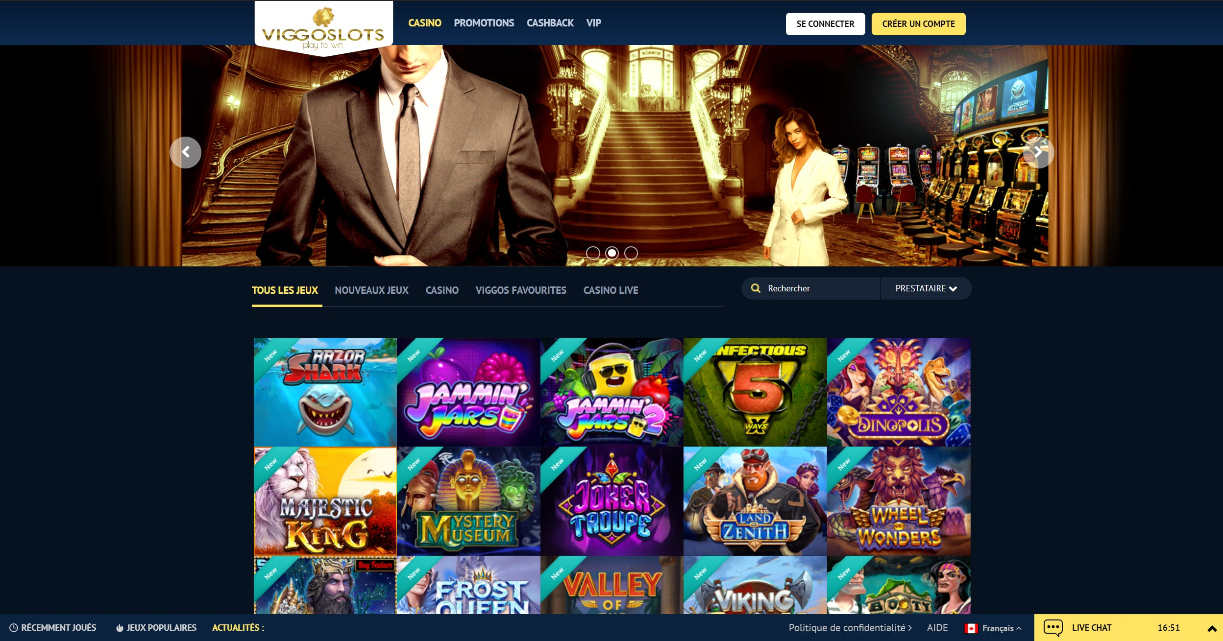Landing page du casino en ligne viggoslots