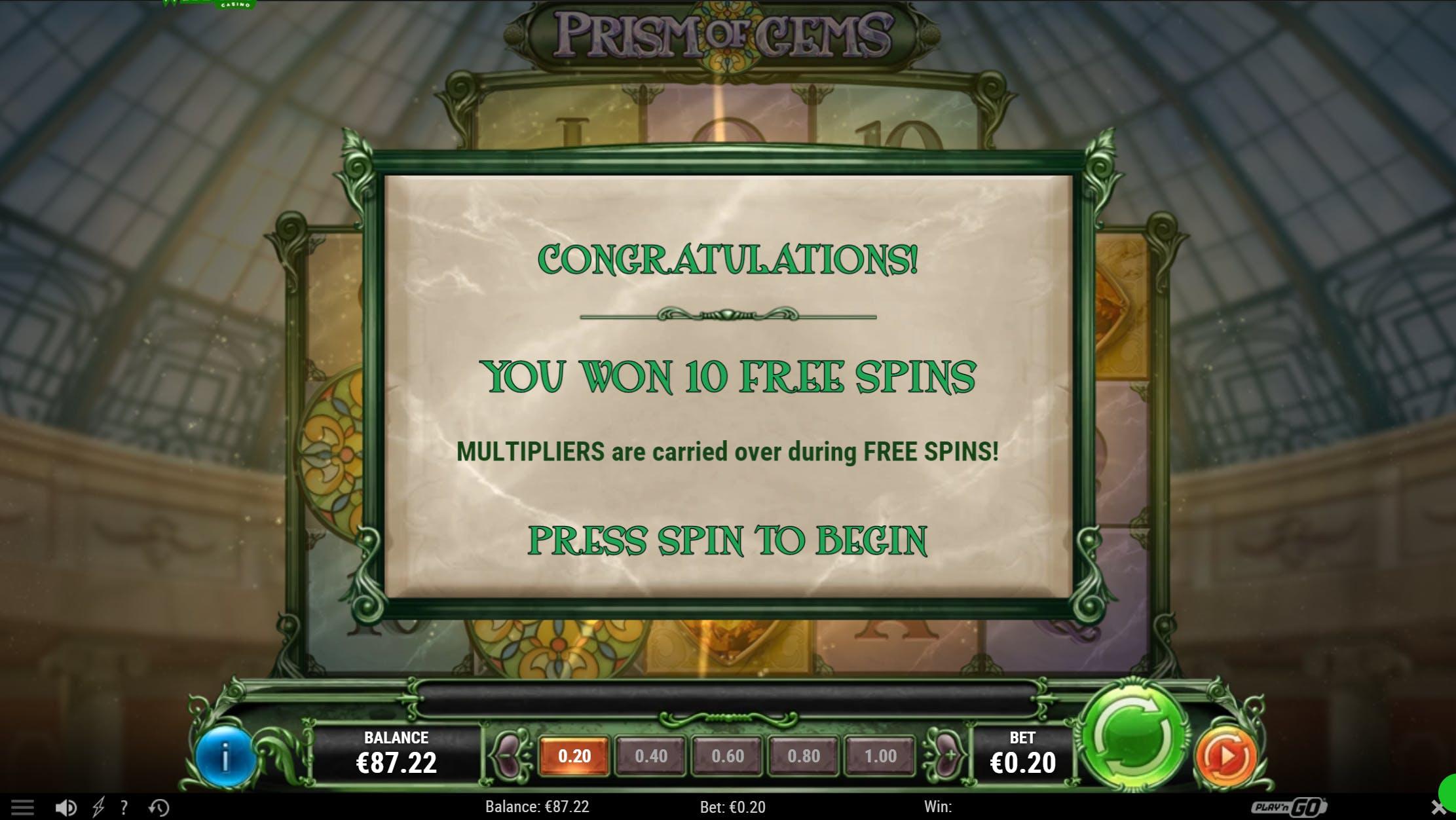 winoui casino bonus sur prism of gems de playngo