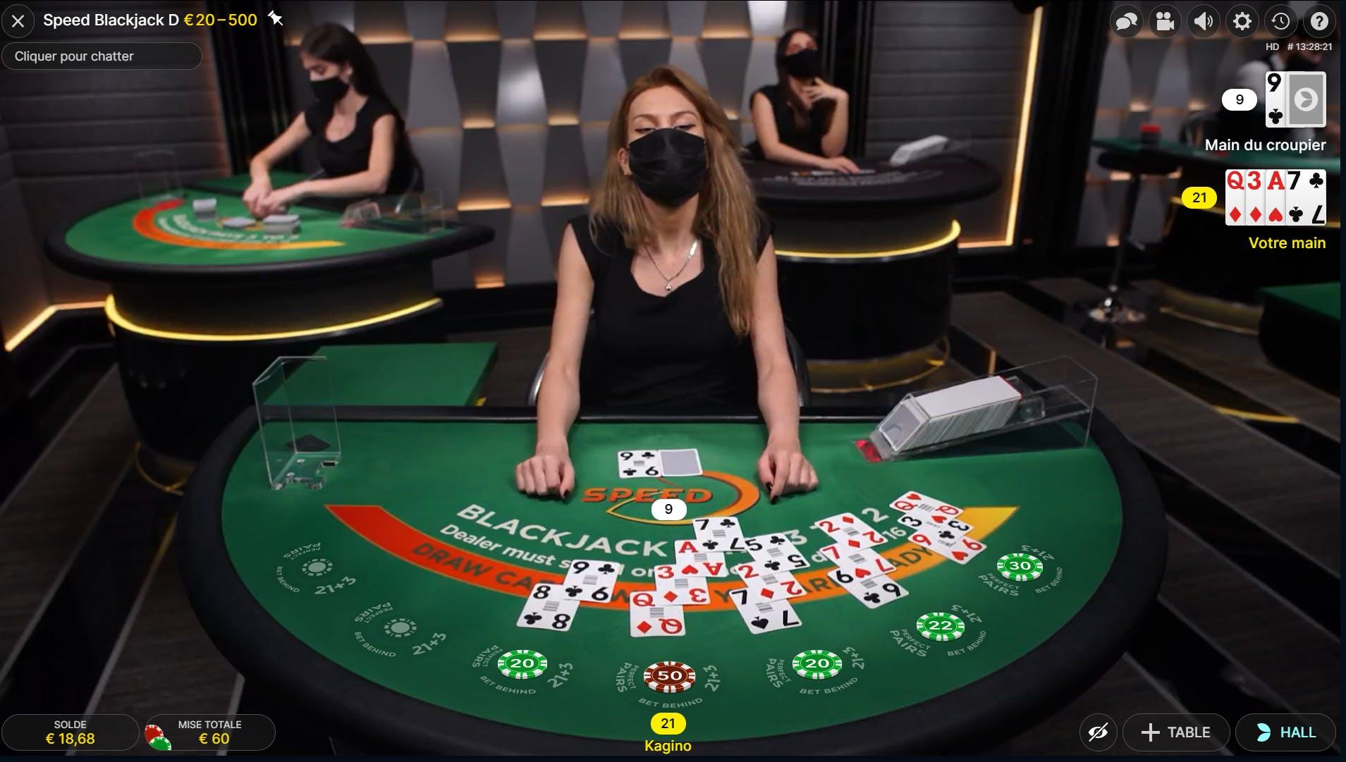 Win perfect score  blackjack evolution gaming