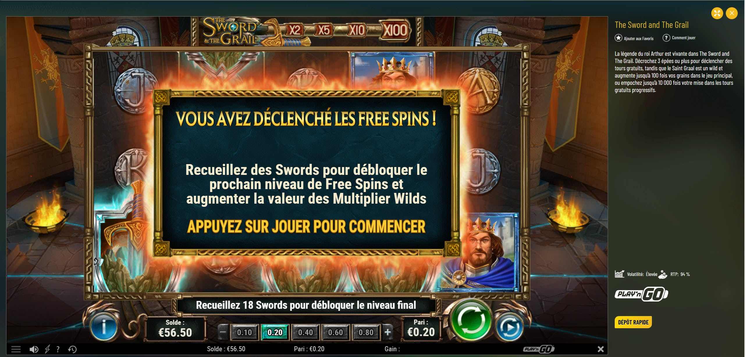 The Sword and the Grail Play'n Go slot Gameplay on Machance Casino