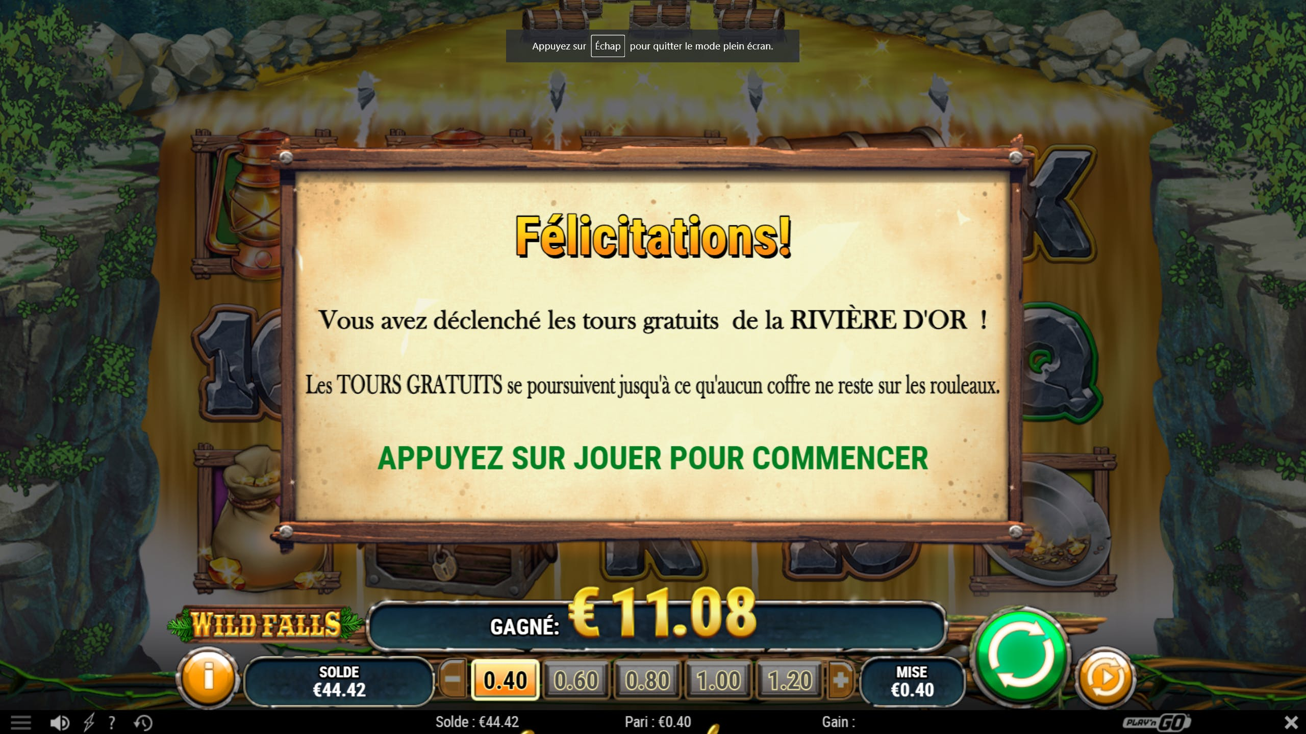 Golden bonus Wild Falls Play N Go