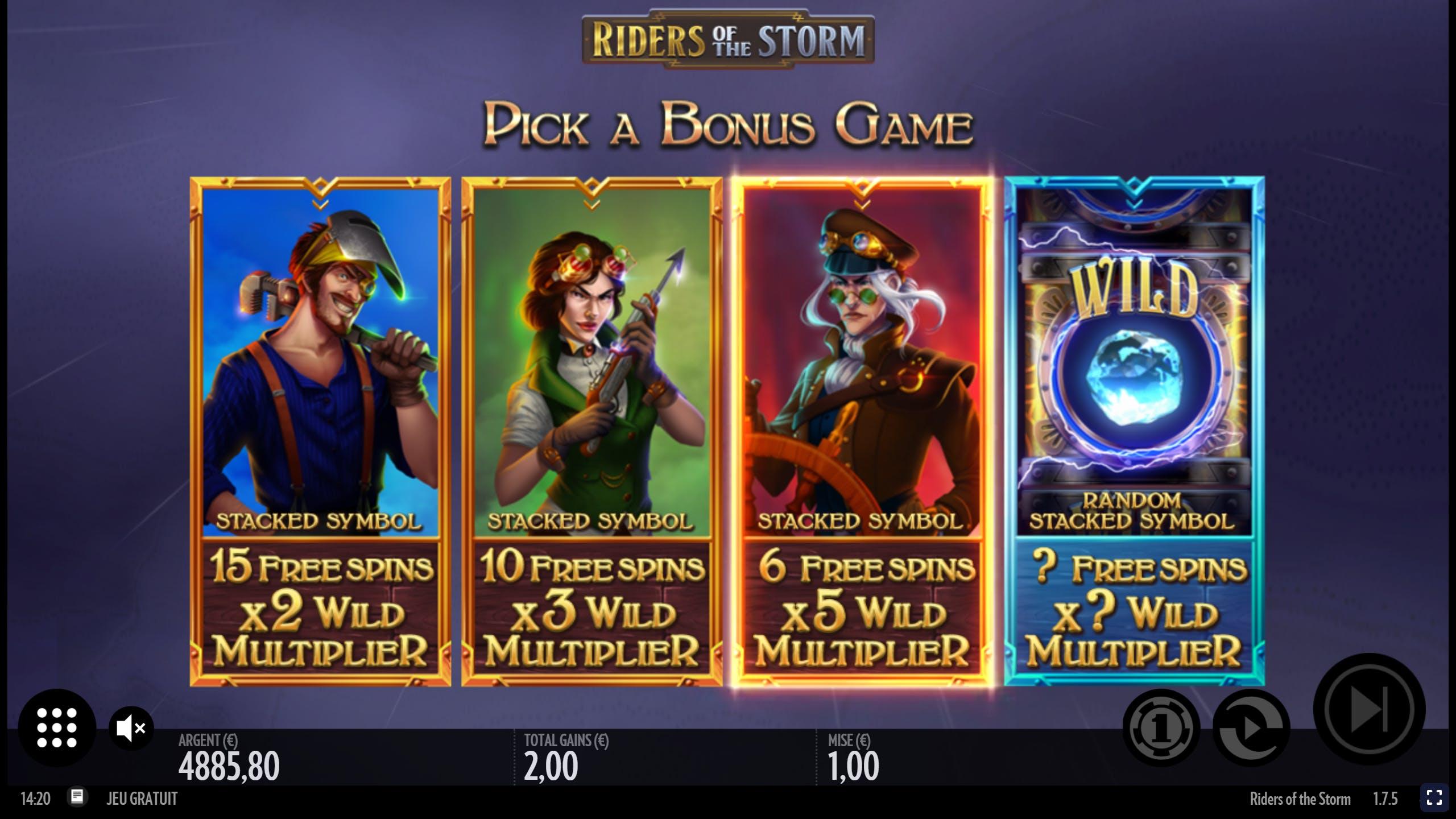 mode de jeu bonus de riders of the storm de thunderkick