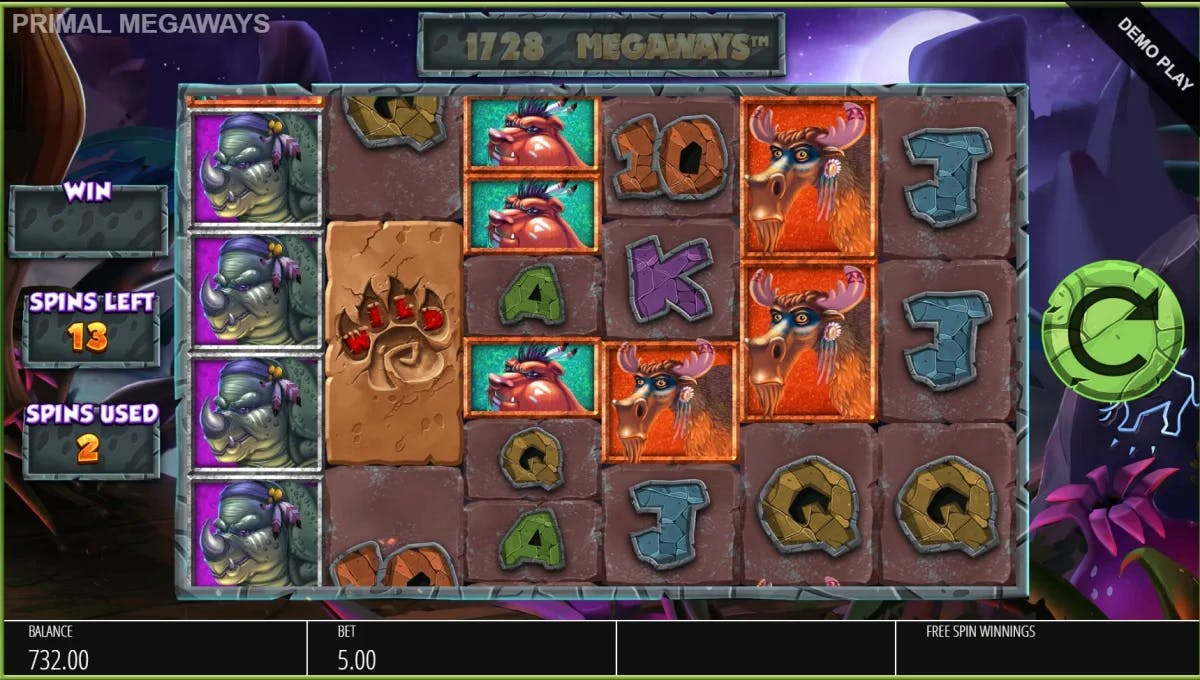 Primal Megaways Blueprint Gaming videoslot bonus mod HD