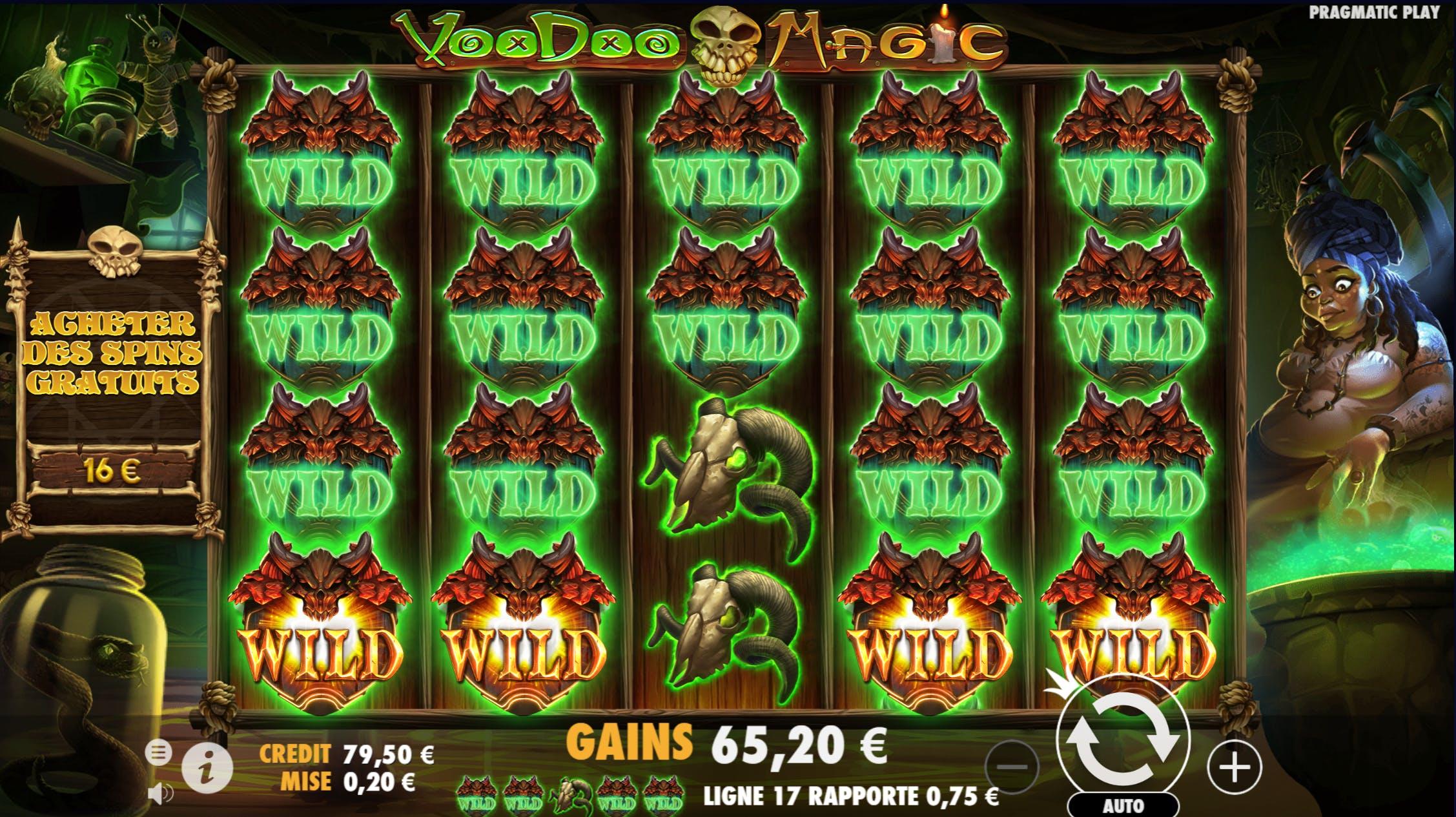 mega win full screen sur voodoo fortune de pragmatic play